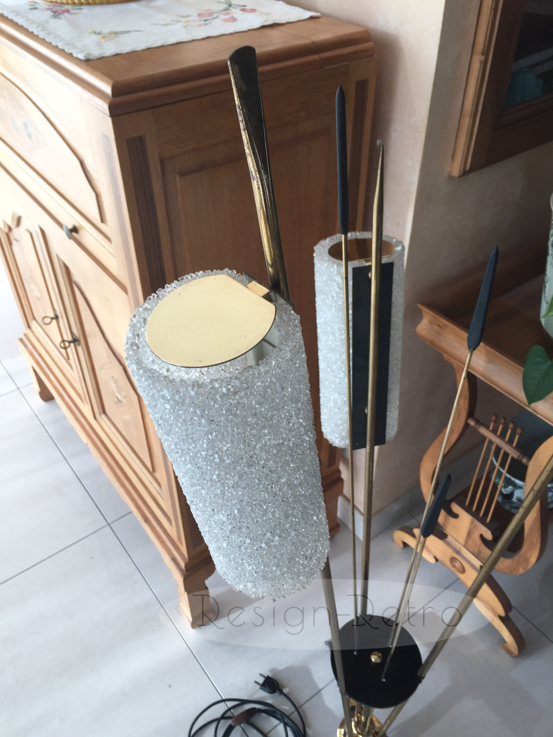 3 feux années 50 60 lampe perspex design formica